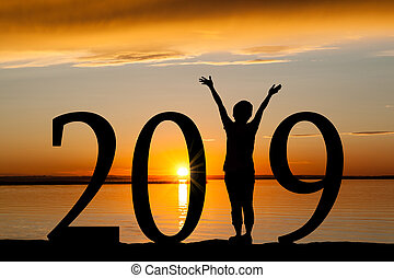 2019 New Year Silhouette of Woman at Golden Sunset