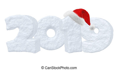 2019 New Year snow text with Santa Claus red hat