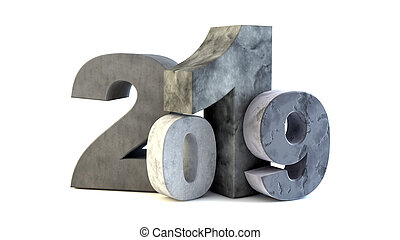 2019 new year stone text isolated on white. 3d render