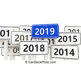 2019 New year symbol on a road sign