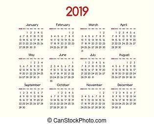 2019 new year vector calendar modern simple design with ...