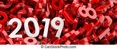 2019 New year. White 2019 figures on red numbers background, banner. 3d illustration