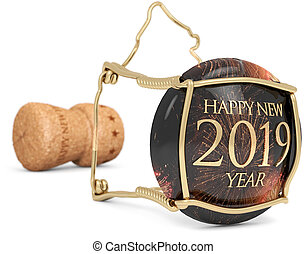 2019 New Year?s champagne stopper, 3d illustration