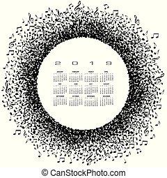 2019, notas, círculo, música, calendário