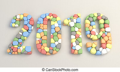 2019 number made from colorful balloons