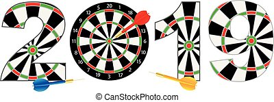 2019 Numerals with Dartboards and Darts Illustration
