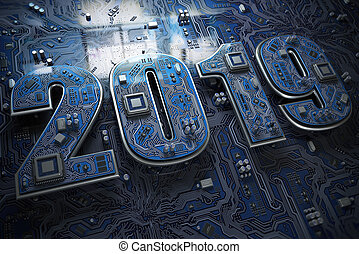 2019 on circuit board or motherboard with cpu. Computer technology and internet commucations digital concept. Happy new 2019 year.