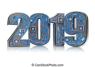 2019 on circuit board or motherboard with cpu isolated on white. Computer technology and internet commucations concept. Happy new 2019 year.