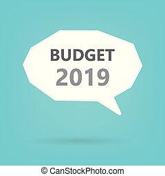 2019, orçamento, conceito, ligado, borbulho fala