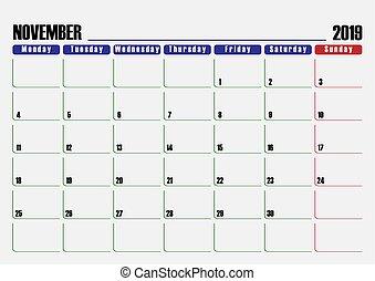 2019, pianificatore, foglio, novembre, calendario, giorno, uno, spento