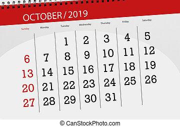 2019, planificateur, mois, date limite, calendrier, jour, octobre