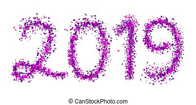 2019 purple particle text isolated on white