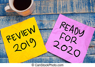 Best of 2019, last year review in life, business, relation, and preparing for new year 2020 resolutions, typography concept