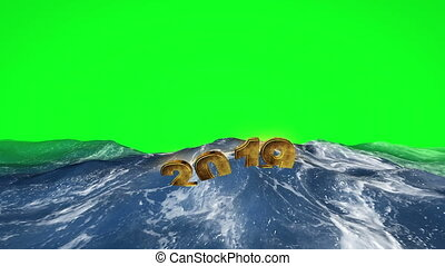 2019 text floating in the water against green screen