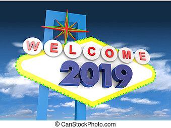 2019 Welcome Las Legas Sign 3D render