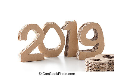 2019 with 8 down handmade 3D numbers made of reused cardboard paper, on white background. New year concept.