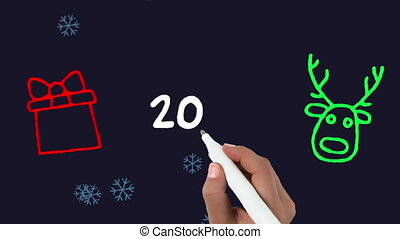 2019 written on black background - Animation of 2019 being ...