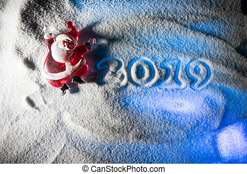 2019 written on the snow. Happy new 2019 year. Empty space for your text.