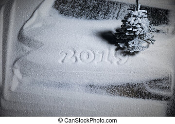 2019 written on the snow. Happy new 2019 year. Empty space for your text