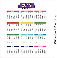 2019  Year calendar isolated on white background vector illustration