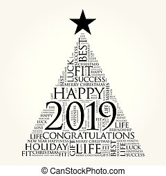 2019 year greeting word cloud collage, Happy New Year...