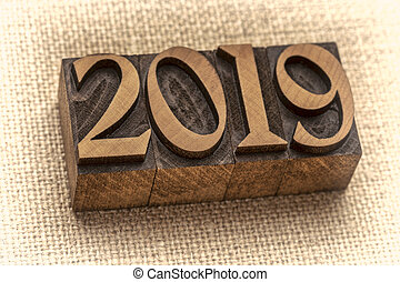 2019 year number abstract in letterpress wood type