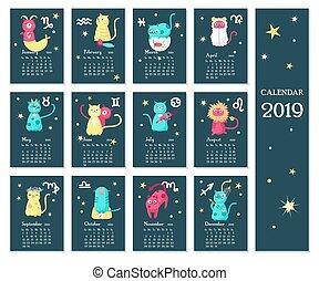 Calendario Zodiaco.Zodiaco Calendario Pagina Blu 2016 Stella Oro Spazio
