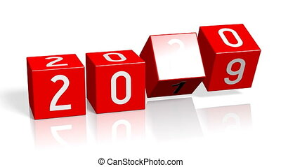 2019/2020 New Year change concept - red cubes.
