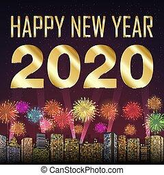 2020, φόντο , ευτυχισμένος , πυροτέχνημα , έτος , πόλη , καινούργιος