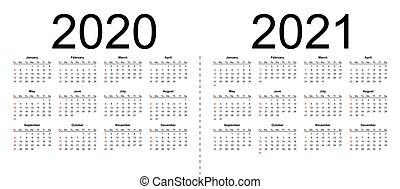 2020, カレンダー, ベクトル, editable, 年, 2021., 単純である