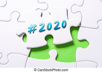 2020, 困惑, ジグソーパズル, hashtag, 年, 小片, 欠けている