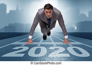 2020, 年, 新しい, ビジネスマン, 概念