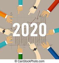 2020., 手, チーム, 一緒に, 年, 仕事, 収入, 未来, マーケティング, 見る, 改善, 販売, 成長