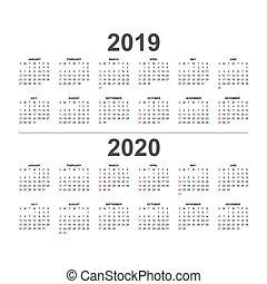 2020, 2019, calendario