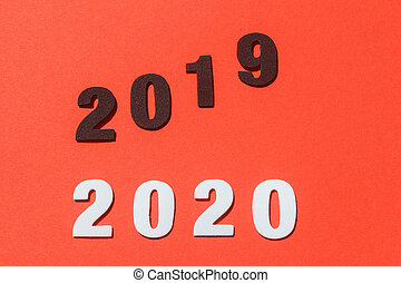 2020, 2019 on red background