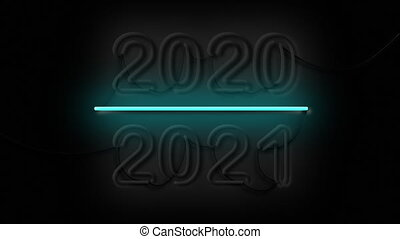 2020-2021 Change Happy New Year 2021 Neon Sign New Years Concept Background Looped Animation