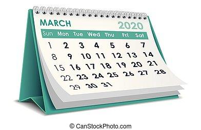 2020, 3月, カレンダー