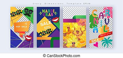 2020 Abstract Carnival Mardi Gras festival Posters, night party, Samba dance parade, Rio Carnival Invitations, post story instagram template, vector