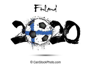2020 and soccer ball in color of Finland flag