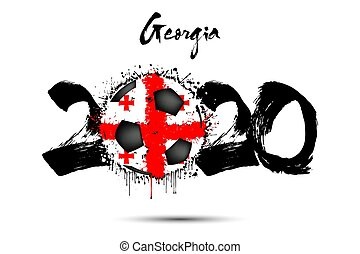 2020 and soccer ball in color of Georgia flag