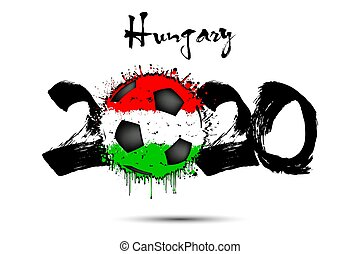 2020 and soccer ball in color of Hungary flag
