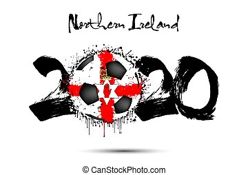 2020 and soccer ball in color of Northern Ireland flag