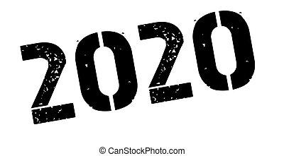 2020 black rubber stamp on white
