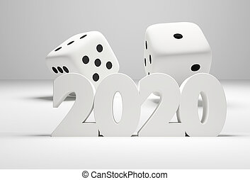 2020 bold letters and 2 dices 3d rendering
