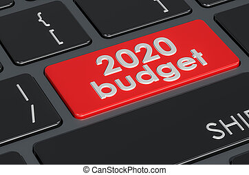 2020 budget button on the keyboard, 3D rendering