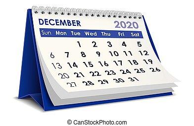 2020, calendário, dezembro