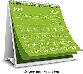 2020, calendário, maio