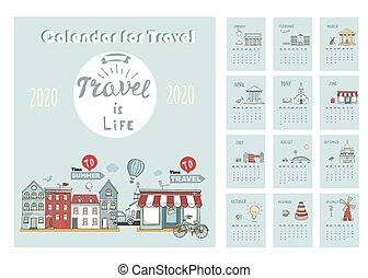 2020 Calendar of Travel. Template with cartoon City Skyline. Vector hand drawn Illustration. Template for Print. Week starts from Sunday.