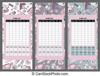 2020 calendar. Set of gliders on the theme of beauty and fashion. Cute cosmetic characters on a pink background.