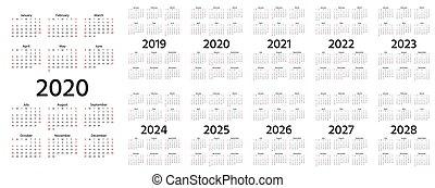 2022 Pocket Calendar.Office Pocket Calendar 2022 Year Template Horizontal Orientation Vector Illustration Canstock